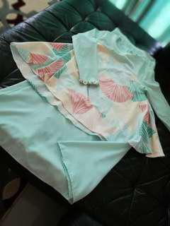Mint green modern kurung