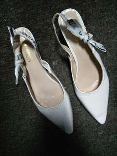 White mini heels