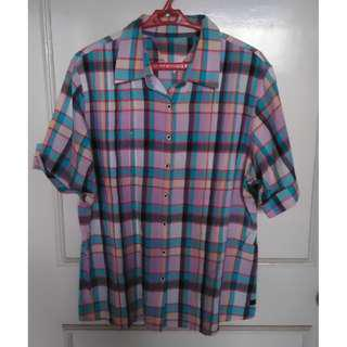 Purple Checkered Short-sleeved Polo