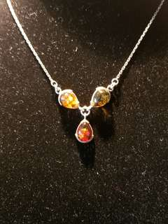 Sterling Silver Necklace w/Amber Stone and Chain
