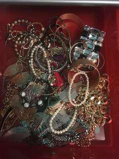 Bunch of bracelets, earrings and necklaces