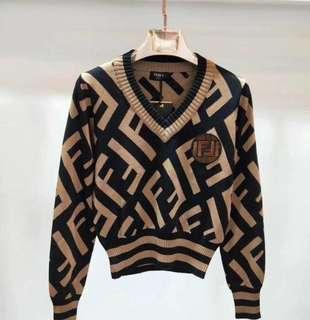 Fendi V Neck Knit Sweater