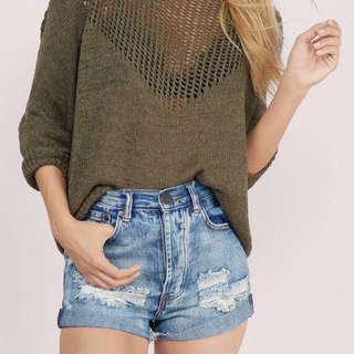 (Size 10) High Waisted Denim Shorts