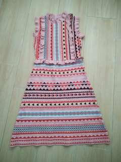 🈹全新超顯瘦圖騰針織連身裙