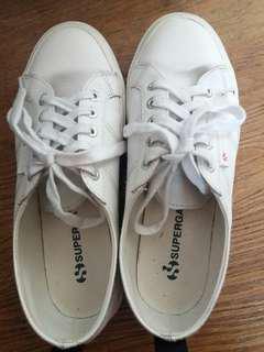 Superga White Leather Shoes