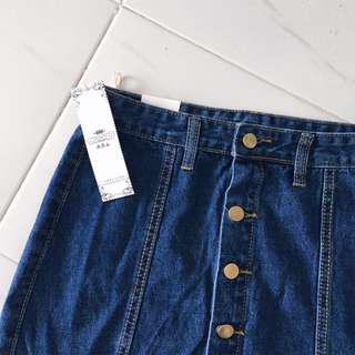 Ulzzang Denim Button Down Skirt