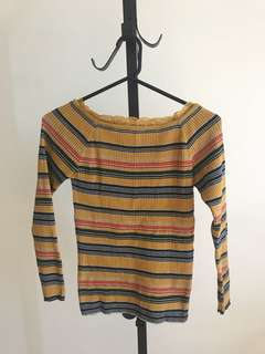 Japan dazzlin mustard super stretchy stripes knit top