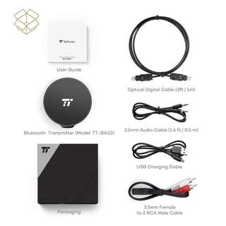 (BN) TaoTronics Bluetooth 4.1 Transmitter with aptX LL, Digital Optical TOSLINK and 3.5mm Audio for TV Home Sound System - TT-BA10 (Brand New)