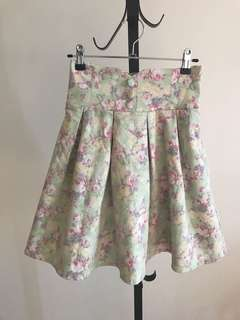 Japan titty&co vintage floral high waist skater skirt with detachable stripes
