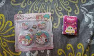 日本sanrio 雙子星 大小襟章 4個