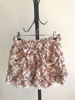 Japan pink checked skirt with Skort lining