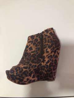 Lipstick Leopard Print Wedges