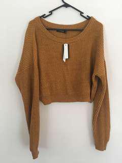 Mustard cropped knit jumper