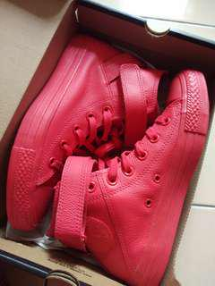 Red leather converse high cut