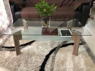 ELEGANT GLASS COFFEE TABLE AND CONSOLE TABLE