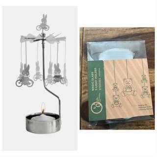 Homeless 熊仔旋轉可愛蠟蠟台 Magic Glass Candle holder(右) (不是Miffy)