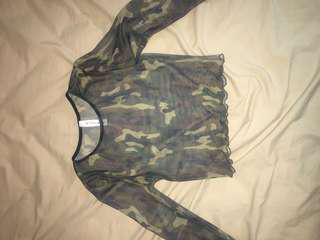 Sheer camouflage long sleeve