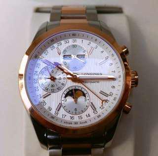 🚚 LONGINES浪琴18k玫瑰金加不鏽鋼 (半金 )月相計時碼錶 自動上鍊 (97%新)原廠盒單齊全 台灣公司貨