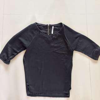 STRADIVARIUS Sheer Quarter Length Sleeve Shirt