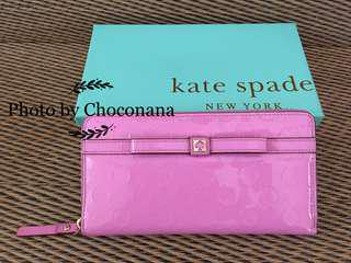 Ready stock: Original Kate Spade Accordion Glossy genuine leather long wallet