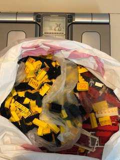 LEGO Bricks Red White Black Yellow 2.5kg