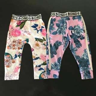 2x Vgc wide band Size 2 floral print Bonds leggings