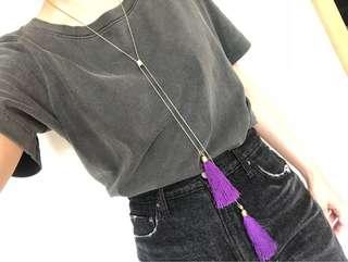 🈹日本購入 日牌SLY (原價$300+)紫色民族流鬚Fringe 頸鍊