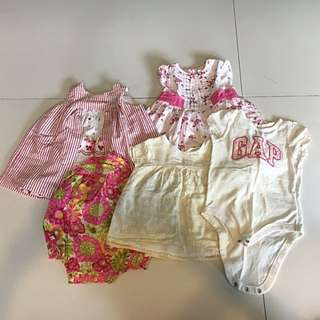 🚚 Set of 5 Girl's Clothes- Tops, Dresses, Onesies