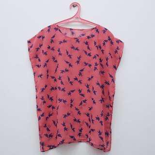Blouse Pink Motif Burung