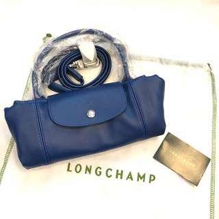 🚚 正全新Longchamp 小羊皮法國製 深藍色小款S 兩用包肩背包手提包斜背包折疊包(可放長夾