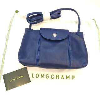 🚚 正全新Longchamp 小羊皮郵差包法國製 深藍色小款S 兩用包肩背包手提包斜背包折疊包(可放長夾