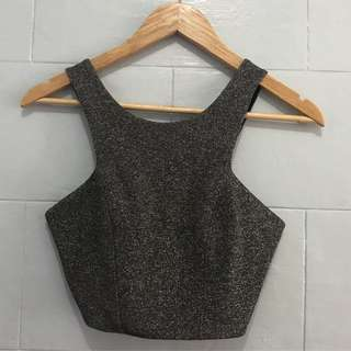 Topshop silvery crop top | semi stretchy | small | P350