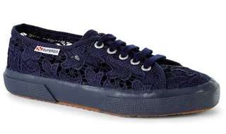 AUTHENTIC SUPERGA MACRAMEW NAVY LACE SNEAKERS