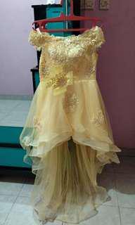 Gaun gold/gaun pesta/gaun murah/gaun malam