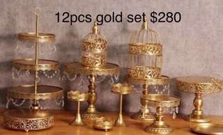 Brand New 12 pcs Gold Cake Stand Set AVAILABLE FOR PICK UP