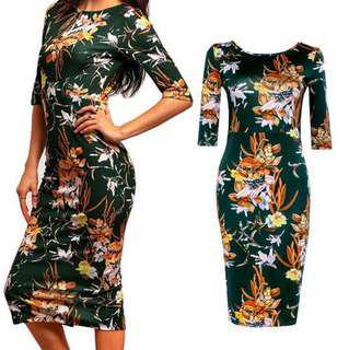 Half sleeve floral pencil dress #August75