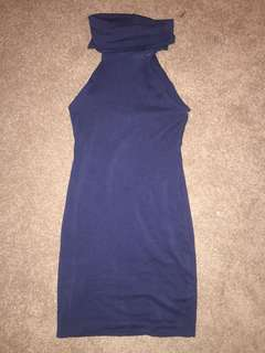 Kookai Navy High Roll Neck Bodycon Dress Size 1 Good Condition