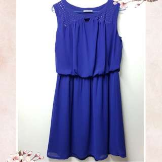 [Used] Navy One piece Dress 深藍色背心連身裙 橡筋腰