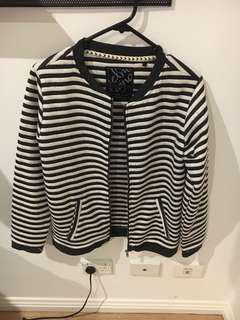 Elm knitwear black and white striped bomber jacket