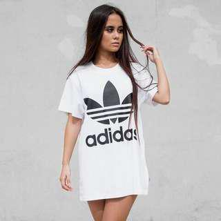 Adidas Tee Dress White Trefoil