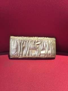💯Authentic Original Prada Vitello Gold Leather Wallet