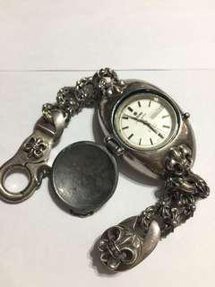 Chrome Hearts款 925銀鏈/TITONI梅花機械錶