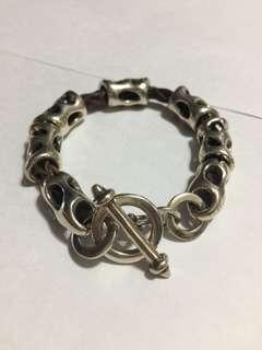 925銀手鏈 (中間皮製)