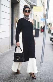 Asilio Black one shoulder knit top with side split size10/medium