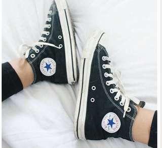 High Top Black Converse - Size 7