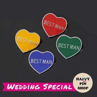 [PO Only] Best Man Heart Enamel Lapel Pin - 4 colours (HPS Wedding)