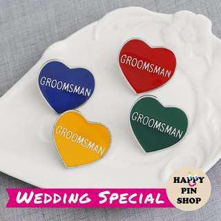 [PO Only] Groomsman Heart Enamel Lapel Pin - 4 colours (HPS Wedding)