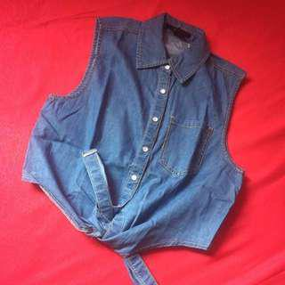 Forever 21 Denim Tied Top