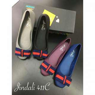 Jindali Jelly Ribbon Flat Shoes 411C#