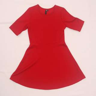 Cotton On Textured Red Dress With Sleeves